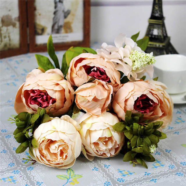 Yaran Artificial Flowers 6 Head Branch Peony Silk Simulation Flower Fake Flower Wedding Bouquets Home Decoration Table ccessory