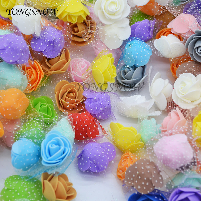 50Pcs/lot 3.5cm PE Foam Rose Artificial Silk Flower Heads Use For Home Garden DIY Wreaths Wedding Decoration Supplies 8Z