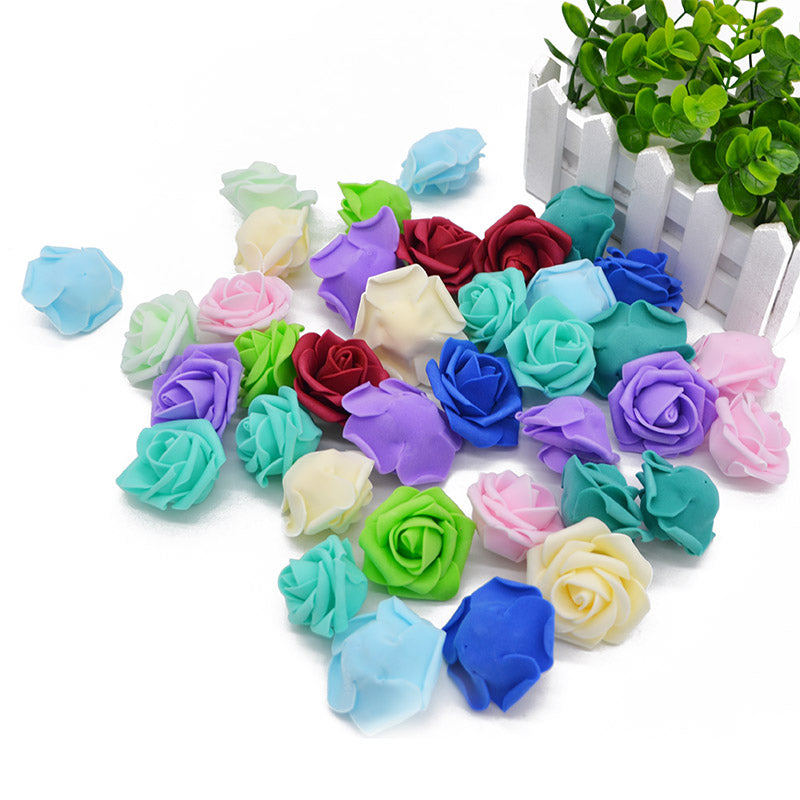 50pcs/lot 4.5cm Foam Rose Flower Head Artificial Flowers For Home Garden DIY Wreath Wedding Decoration Festive Party Supplies 8Z