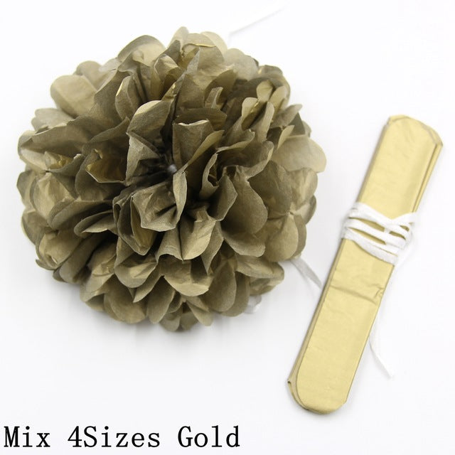 8PCS Mix 4Sizes Gold&Sliver Tissue Paper Pom Poms Flower Kissing Balls DIY Home/Birthday/Wedding Party Decoration Wedding Favors