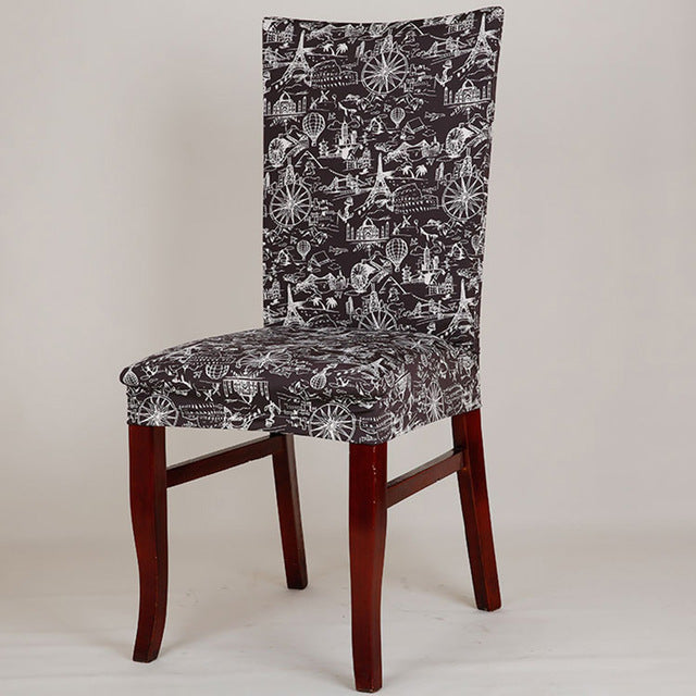 durable spandex polyester universal stretch seat cover vintage floral butterfly colored stars pattern dining party chair covers