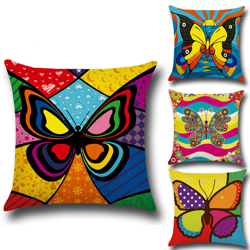 Printed Cushion Cover 45cm*45cm Cotton Linen Throw Pillow Case Colorful Butterfly Print Home Decor Sofa Bed Cushion Covers