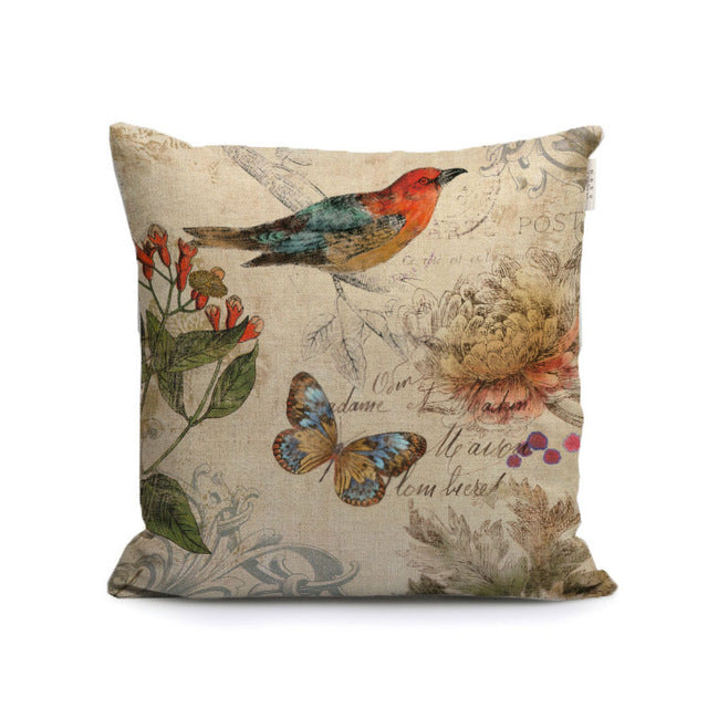 vintage nordic bird and butterfly decorative pillows covers oil painting plants and animal throw cushion cases for sofa home