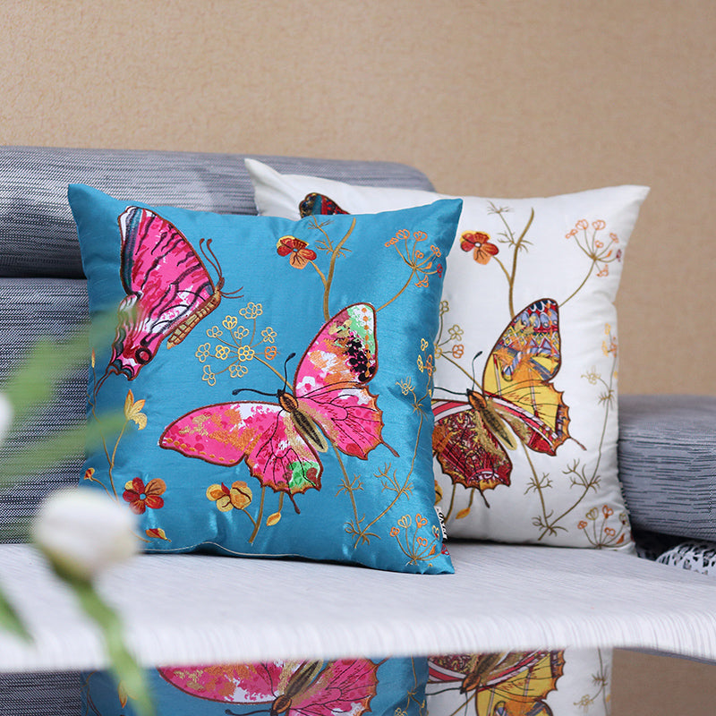 Pastoral Silk Embroidered Butterfly Luxury Cushions Covers Sofa Pillow Covers Home Decorative Flower Pillow Case Cushion Case