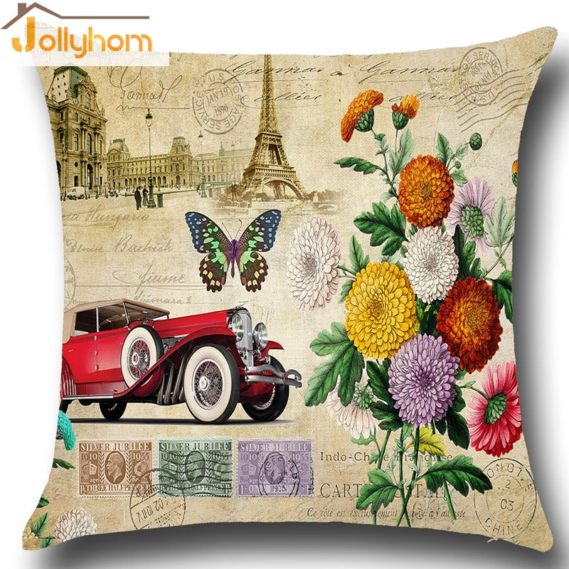European Retro Style Pillowcase Building Butterfly Pillow Cover Household Decor Cushion Cover 9 Colors Option 45x45cm(17''x17'')