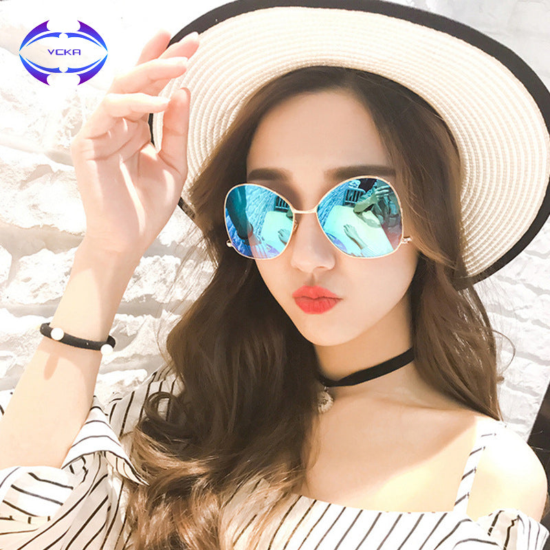 VCKA 2017 Stylish Butterfly Sunglasses Women Fashion Pink Mirror Sun Glasses Clear Optics Frame Metal Steel Ball UV400 Eyewear
