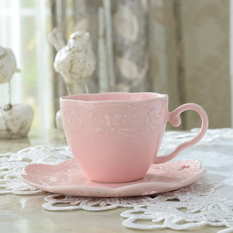 European color glaze relief ceramic cups coffee disc cup lace butterfly mug 3 colors 150ML