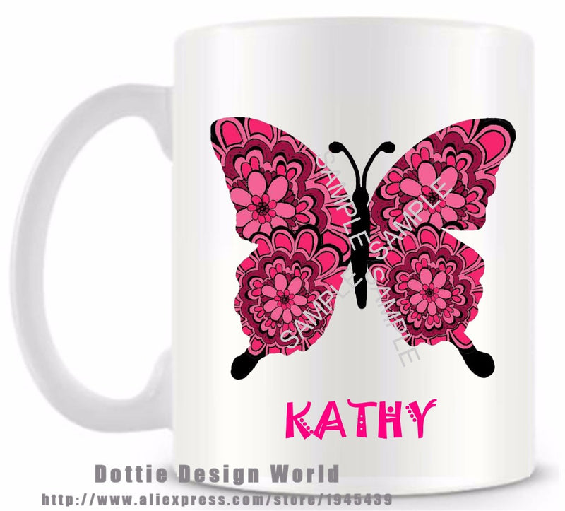 Personalized Butterfly funny novelty travel mug Ceramic white coffee tea milk cup Custom Birthday Easter gifts top game mug