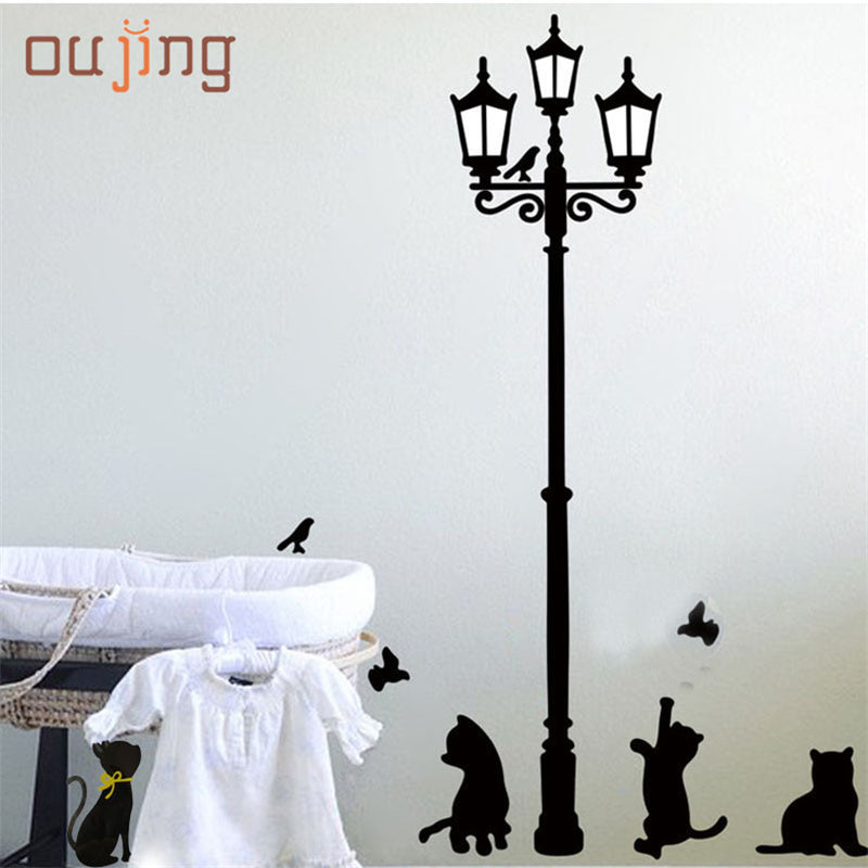 oujing New Arrival Cat Wall Sticker Lamp and Butterflies Stickers Decor Decals Removable Cartoon Sticker for kids room DROP SHIP