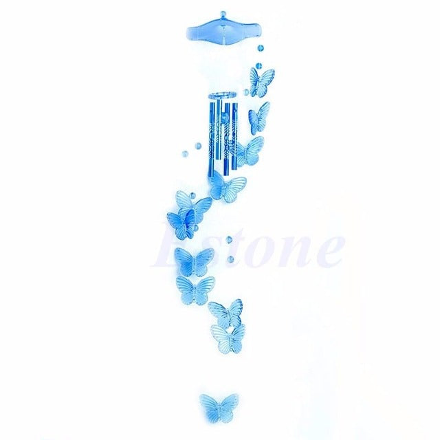 Creative 4 Tubes Wind Chime Bell Butterfly Mobile Garden Living Decor Ornament H06