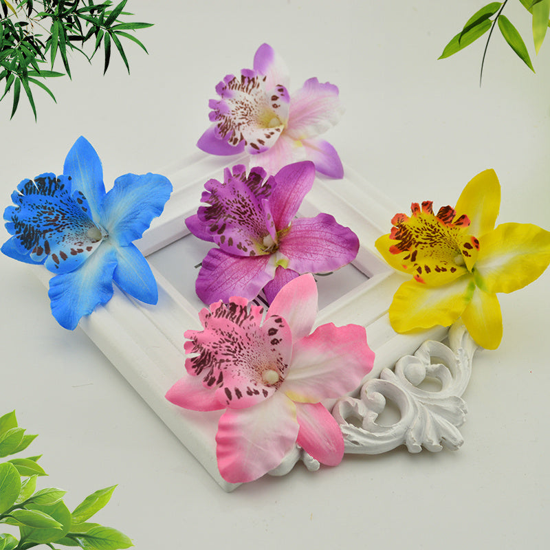 5 pieces Silk Butterfly Orchid Artificial Flowers Head For Wedding Car Decoration Orchs Mariage Flores Cymbidium Flower Plants