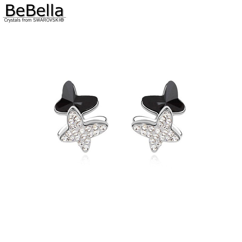 BeBella 3 colors women crystal butterfly earrings made with Austrian crystals from Swarovski for women gift