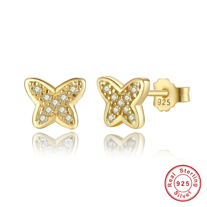 925 Sterling Silver Petite Butterfly Stud Earrings, Clear CZ,  Push-back Gold Earrings for Women Fine Jewelry