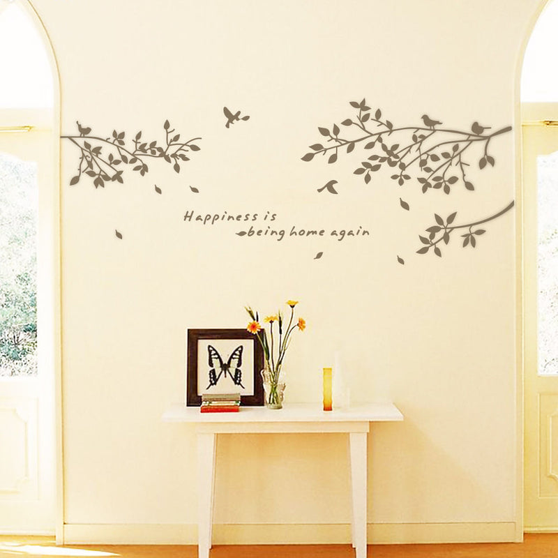 Black Tree Branches Birds Leaves Fashion Vinyl Minimalism Wall Stickers Living Room Decoration Art Wall Decals for Home Decor