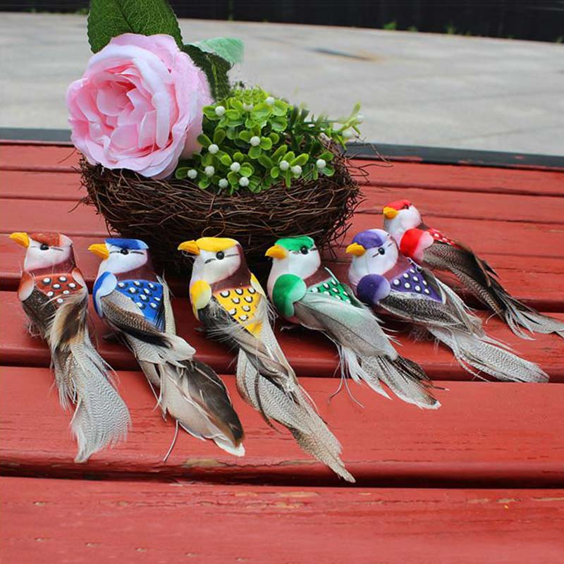 12PCS,12*3.5CM Decorative Bird Artificial Foam Feather Mini Colorful Birds With Magnet Or Foot,Wedding Ornament Home Decoration