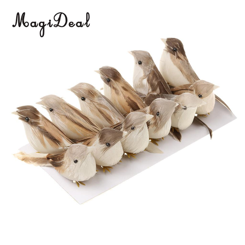 MagiDeal 12Pieces Perched Woodland Birds Artificial Feather bird Home/Garden Ornaments Decor