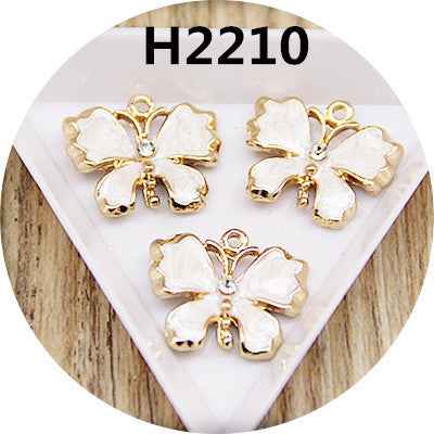 Free Shipping 20PCS Enamel Butterfly Jewelry Pendant Charms Gold Tone Metal Alloy DIY Bracelet Necklace Earring Pendant Charm