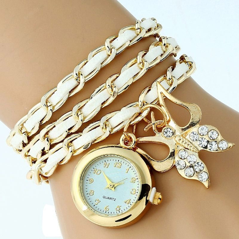 Gnova Platinum TOP Large Pu leather chain Strap Rhinestone butterfly watch charm Fashion woman wristwatch bracelet vintage A631