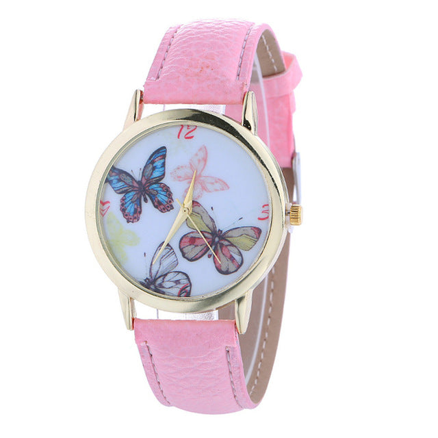Womens Quartz Watch 1 PC Elegent Butterfly Pattern Analog Wrist Watch Vogue PU Leather Strap Female Watch Brands Wholesale 40M20