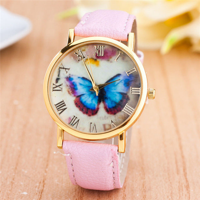 Womens Quartz Watches 1 PC Butterfly Patterns Wrist Watches Faux Leather Analog Roman Number Female Watch Brands Wholesale 40M10