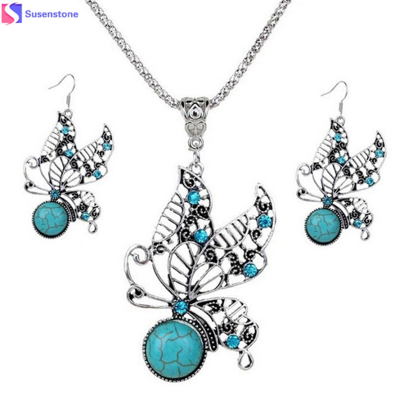 Pierced Butterfly Earrings Necklace Sets