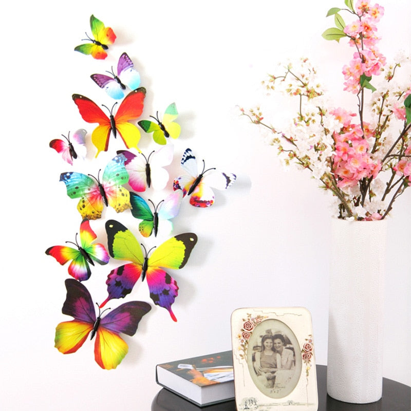 12Pcs 3D Butterflies Wall Stickers Decals for Kids Bedroom DIY Home Decor Butterflies Decoration Poster Adesivo De Parede