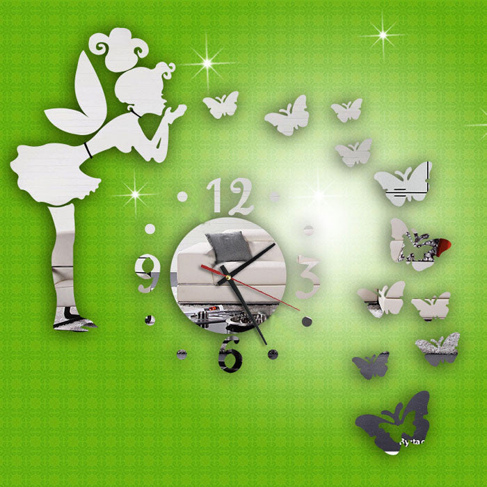 Modern Style Butterfly Fairy DIY Mirror Wall Clock Wall Sticker Home Decor