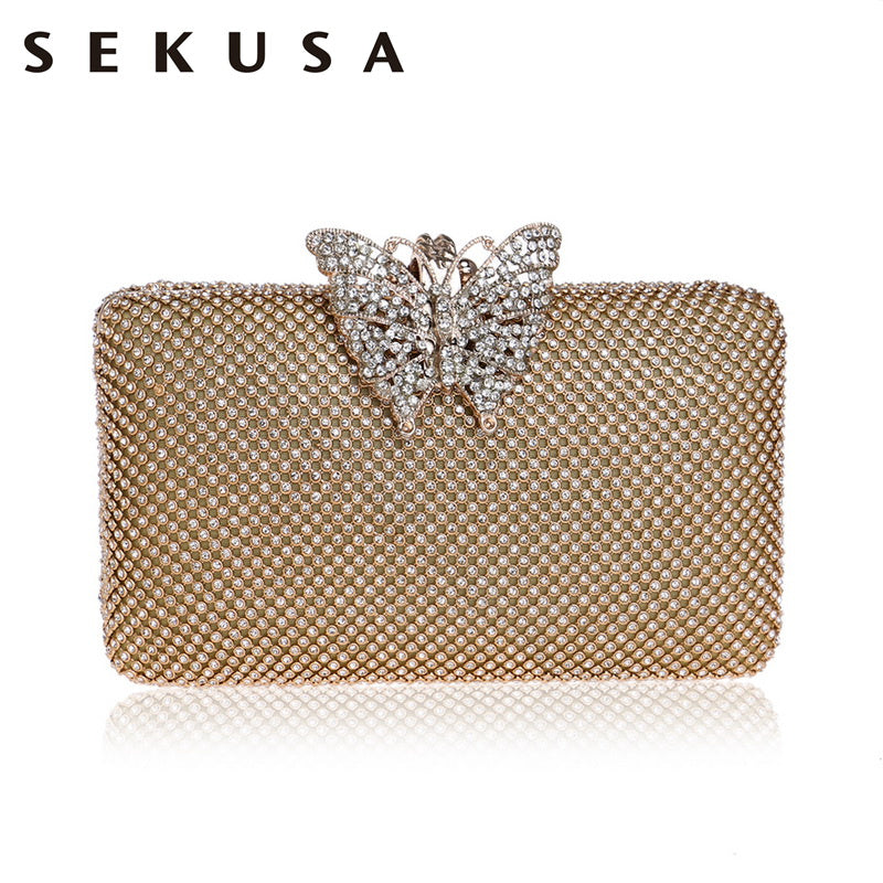 SEKUSA Butterfly Metal Rhinestones Bag Female Small Ladies Crystal Evening Clutch Bag Chain Shoulder Women Party Weddng Purse