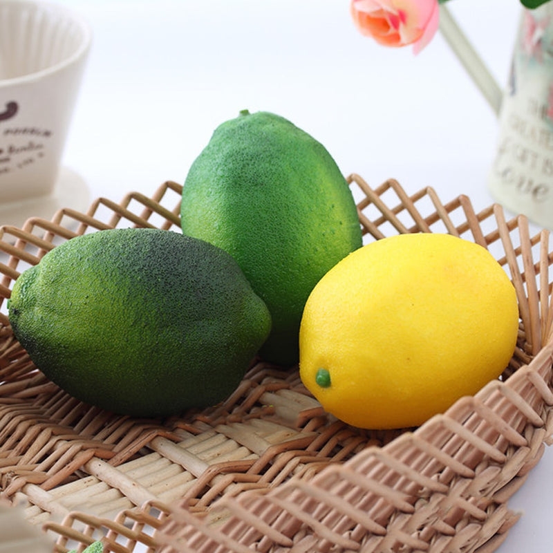 Simulation Lemons Decorative Plastic Solid Artificial Fruit Yellow Green Cabinet Home Decor Party Photo booth Birthday Supplies