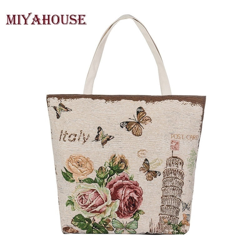 Miyahouse Hot Sale Butterfly Printed Tote Female Beach Bag Women Canvas Bag Floral Handbag Large Capacity Shoulder Shopping Bags