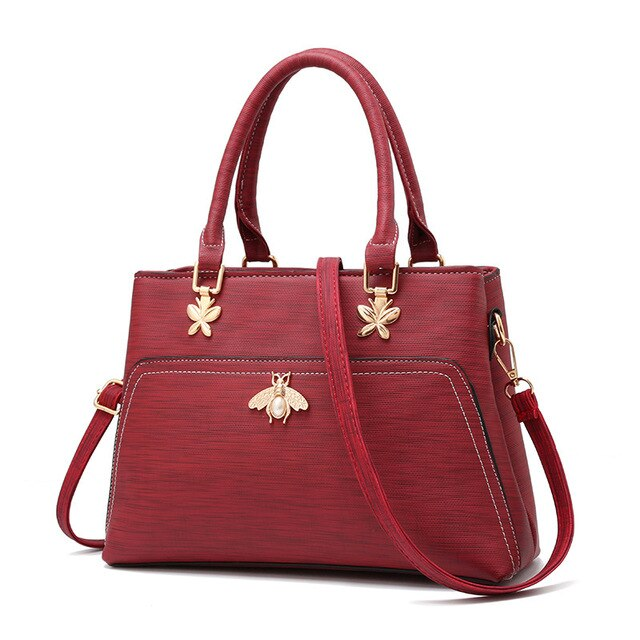 BARHEE Brand Women Handbag Leather Solid Shoulder Bag Elegant Ladies Butterfly Tote Bag Large High Quality Messenger Bag Bolsas