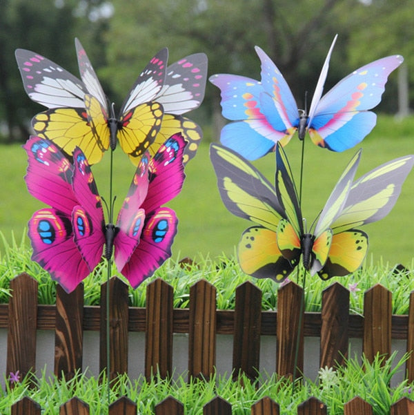 25Pcs 22cm Colorful 3D Double Layer Butterfly On Sticks Home Yard Lawn Flowerpot Plant Decoration Garden Ornament DIY Lawn Craft