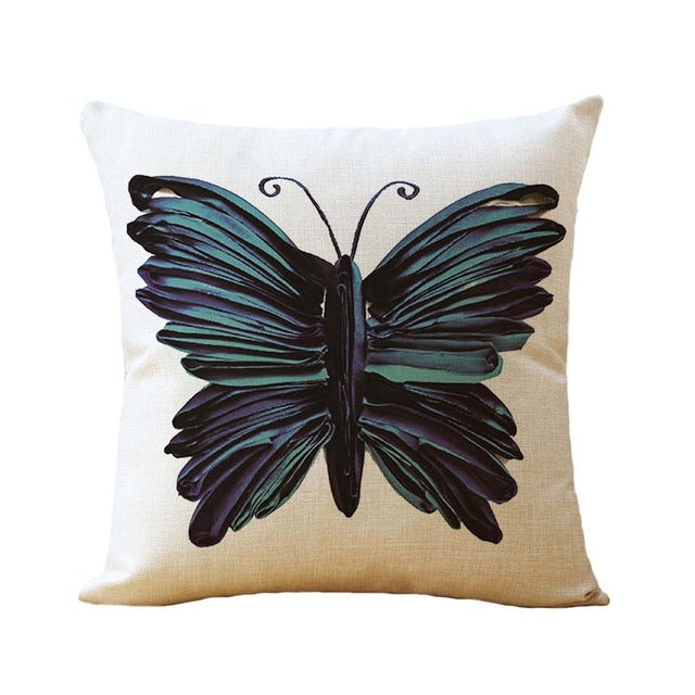 45*45cm Cotton Linen Cushion Covers Throw Pillows Case Butterfly Pattern Sofa Cushions Cover Home Decor Pillow Cover funda cojin