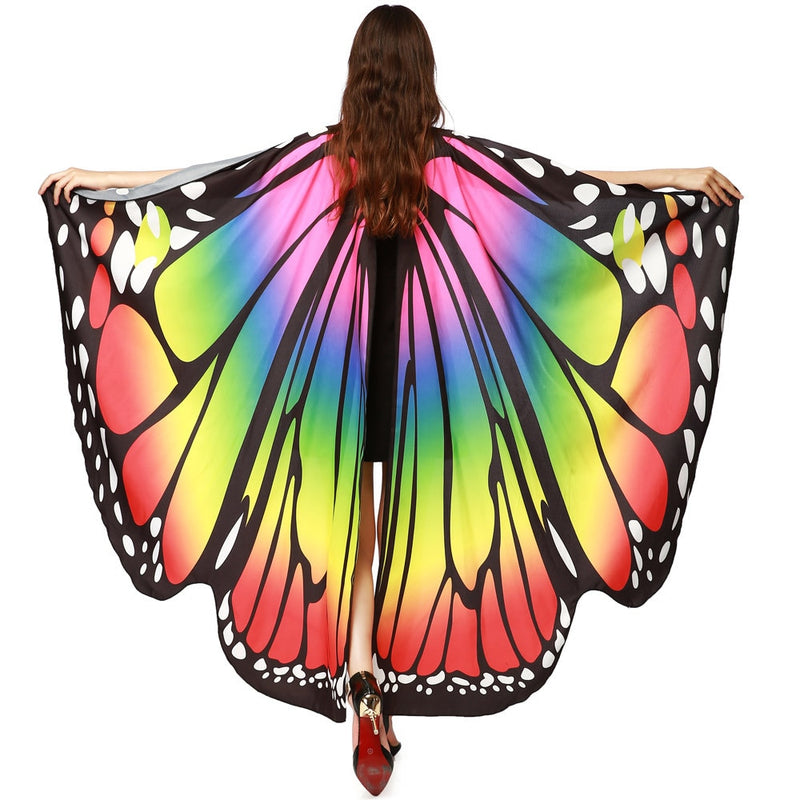Women Scarf Beach Pashmina Butterfly Wing Cape Shawl Wrap Gifts Novelty Print Scarves Gradient Color Poncho Pashminas