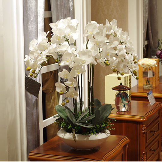 Artificial big size PU real touch hand feeling orchid  flower arrangement  bonsai flower only no vase luxious flower bouquet