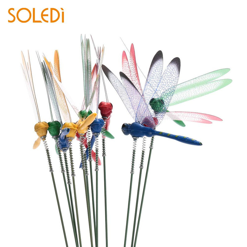 2PCS Artificial Grassland Garden Ornament Garden Decor Lawn Decoration Lifelike Dragonfly  Plastic 3D Double Garden Art