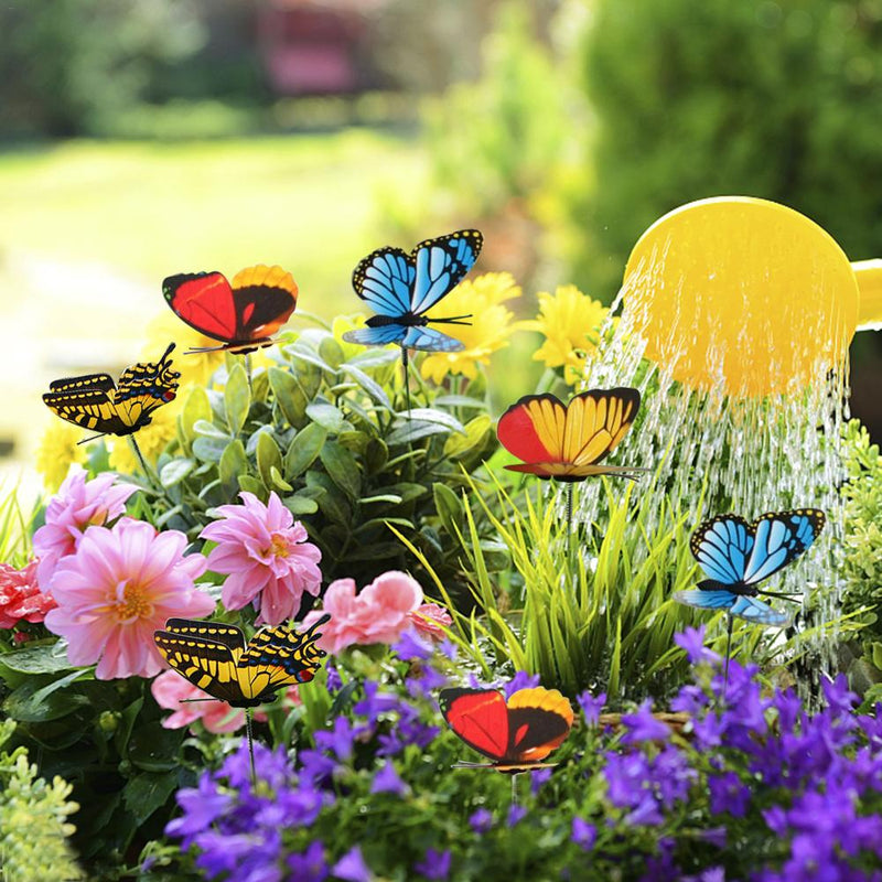 25Pcs Colorful 3D Double Layer Butterfly On Sticks Home Yard Lawn Flowerpot Plant Decoration Garden Ornament DIY Lawn Craft 20
