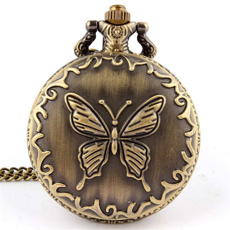 Unique Bronze Butterfly Sculpture Design Quartz Pocket Watch FOB Chain Necklace Pendant Men Women Gifts Steampunk Pocket Watch