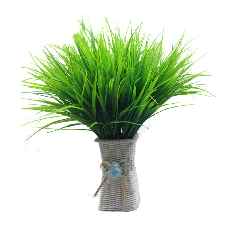 7-fork Green Grass Artificial Plants For Plastic Flowers Household Store Dest Rustic Decoration Clover Plant