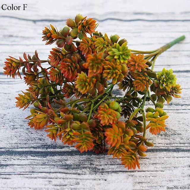 28 heads Succulents Artificial Plants Fall Fake Leaves Plastic Succulent Plants Lotus Grass for Garden Wedding Decoration
