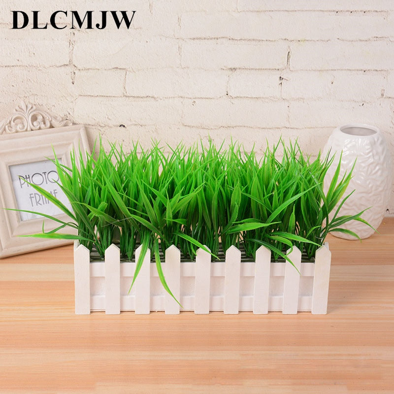 Artificial Plant Green Grass Decor Flower Bonsai Green Plant Fake Flower Potted For Wedding Home Garden Decor Bonsai green grass