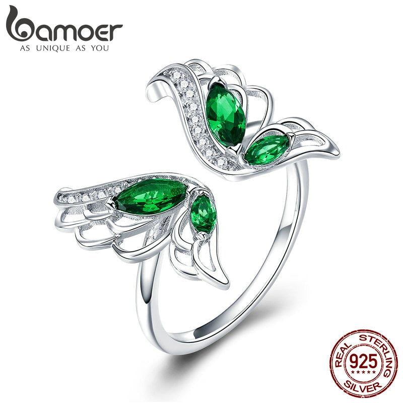 BAMOER Trendy New 925 Sterling Silver Elegant Butterfly Clear CZ Finger Rings for Women Wedding Engagement Jewelry BSR007