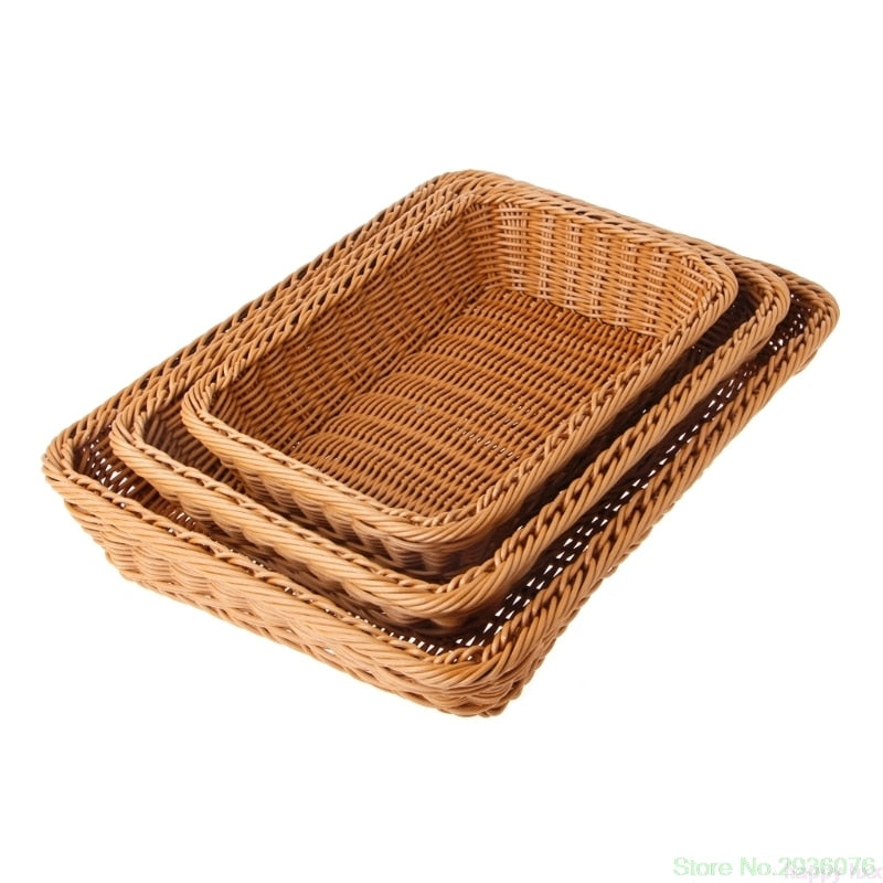 Home Square Artificial Rattan Harden Storage Basket Organizer Food Fruit Bins