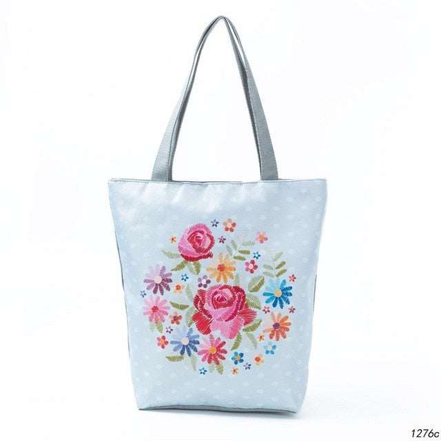 Miyahouse New Summer Beach Bag Women Bag Butterfly Printed Shoulder Bag Female Canvas Single Shopping Handbags Floral Tote Bag