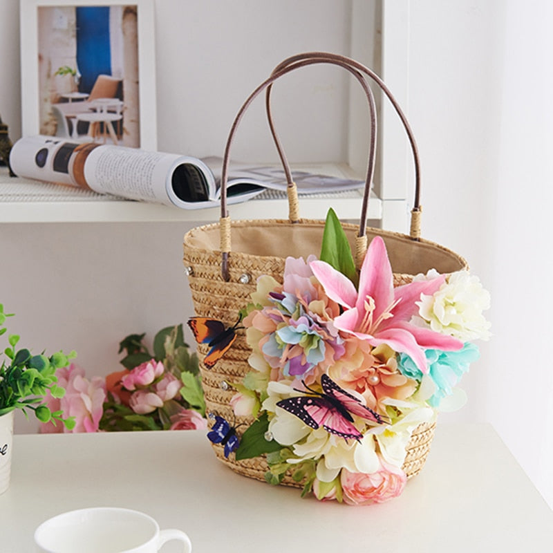 Handmade flower straw bag For Women Summer Holiday Straw Handbag Butterfly tote bags Rhinestone Beach Bags Hand Woven Bag 2019