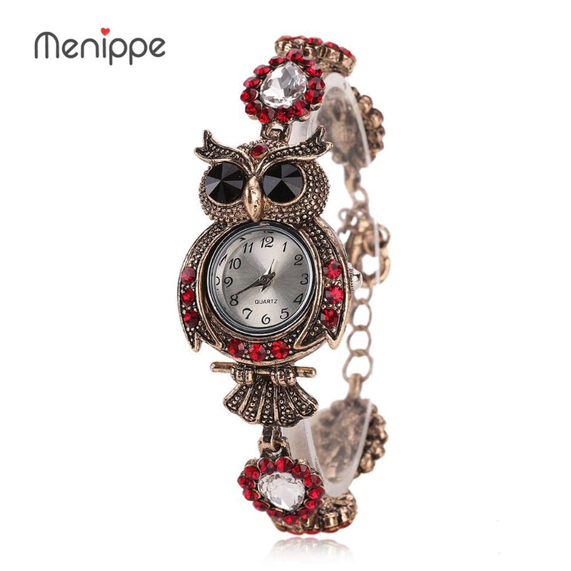 2019 New Women Dress Watches Quartz Wrist Watch Crystal Butterfly Vintage Owl Bracelet Gold Watches Luxury Women reloj mujer