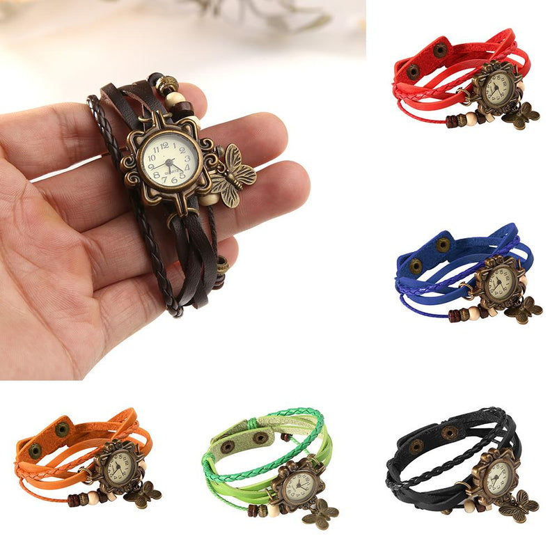 Fashion Womens Retro Faux Leather Bracelet Butterfly Decoration Quartz Wrist Watch