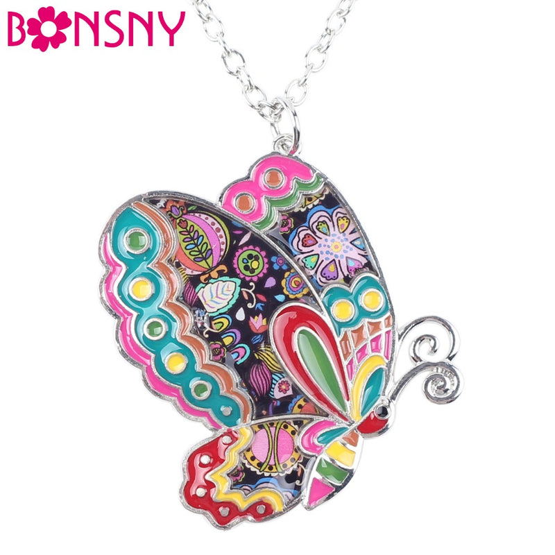 Bonsny Maxi Statement Metal Alloy Enamel Jewelry Butterfly Necklace Choker Collar Pendant 2016 Fashion New For Women