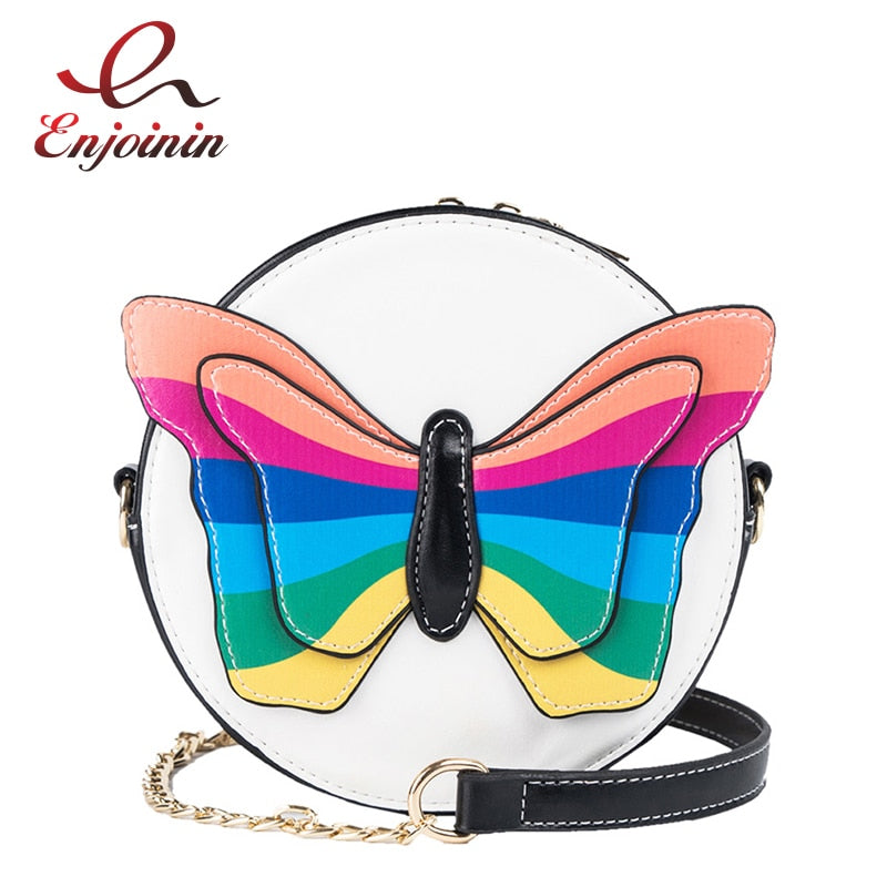 Round Design Colorful Butterfly Decoration Fashion Ladies Chain Purse Crossbody Bag For Women Handbag Bolsa Shoulder Bag Totes