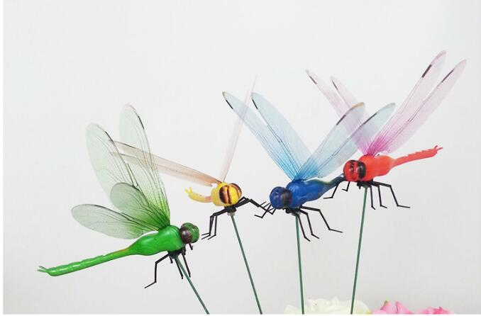 50% off,10pcs 12cm,Simulation dragonfly mix colorful,butterfly dragonfly crafts lawn garden flower plunger decoration